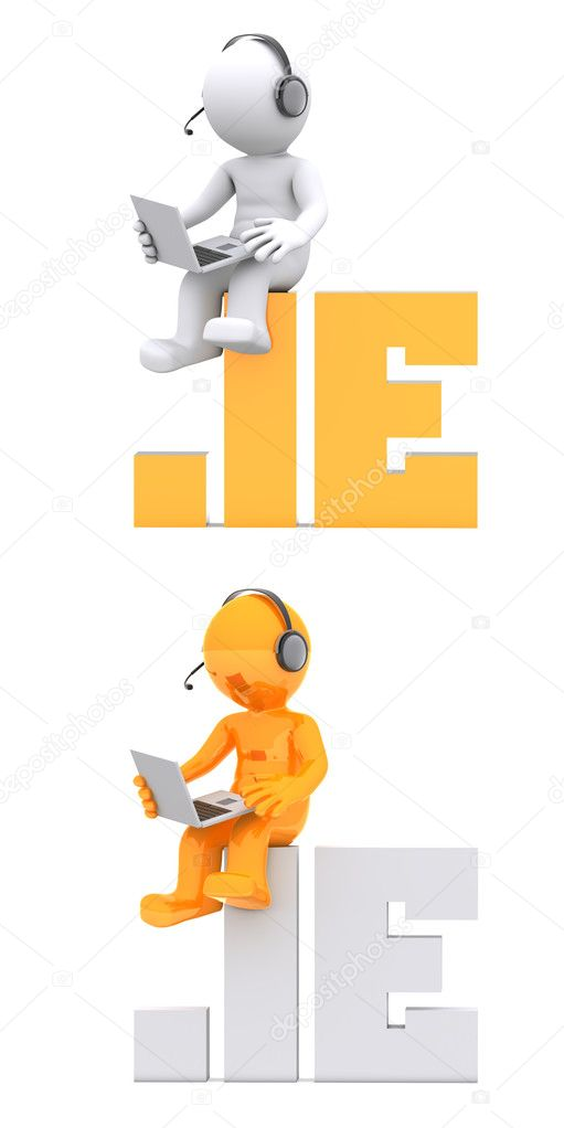 3d character sitting on .IE domain name. Isolated on white — Stock Photo #6653620