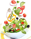 Fresh salad with ingredients — Stock Photo