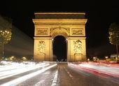 Beautiful night view of the Arc de Triomphe, Paris, France — Stock Photo