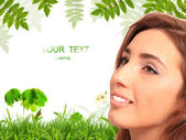 Brunet girl and spring background — Stock Photo