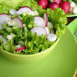 Fresh salad with radishes, lettuce and onions — Stock Photo
