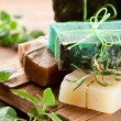 Pieces of natural soap. - Stockfoto