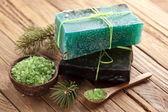Pine soap with sea-salt. — Stock Photo