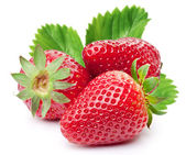 Appetizing strawberries with leaves. — Stock Photo