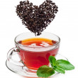 taza de té y las hojas de té — Foto de Stock
