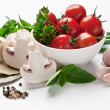 Group of fresh vegetables and tomatoes - Stock Photo