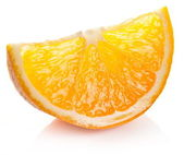 Orange slice on a white background. — Foto de Stock