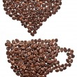Coffee beans in form of heart and cup — Stock Photo