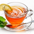 Cup tea with mint. - Stock fotografie