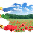 Three brushes paint a beautiful landscape with poppies. — Stockfoto