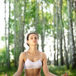 Practicing of yoga outdoors. — Stock Photo