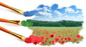 Three brushes paint a beautiful landscape with poppies. — Stock Photo