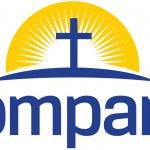 Cross with sun logo — Stock Vector