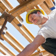 Construction worker under formwork girders - Foto Stock
