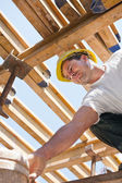 Construction worker under formwork girders — Stock Photo