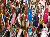 Hanged Colorful Sport Shoes — Stock Photo