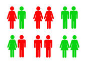 Permitted and prohibited pictograms with icons male and female — Stock Photo