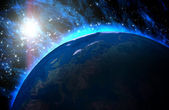 在宇宙中行星地球与日出. — 图库照片
