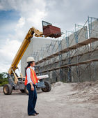 Asian Woman Inspector on construction site — Stock Photo