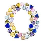 Gemstones alphabet, letter O. Isolated on white background. — Stock Photo