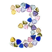 Gemstones numbers collection, figure 3. Isolated on white backgr — Stock Photo