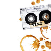 Vintage demo tape with coffee stains. — Stock Photo