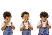 Shot of Three children with milk — Stock Photo