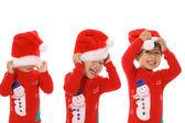 Shot of Three children Merry Christmas — Stock Photo