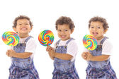 Lollipop triplets isolated on white — Stock Photo