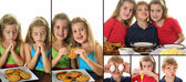 A breakfast buddies collage — Stock Photo