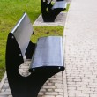 Stock Photo: Vacant metal benches