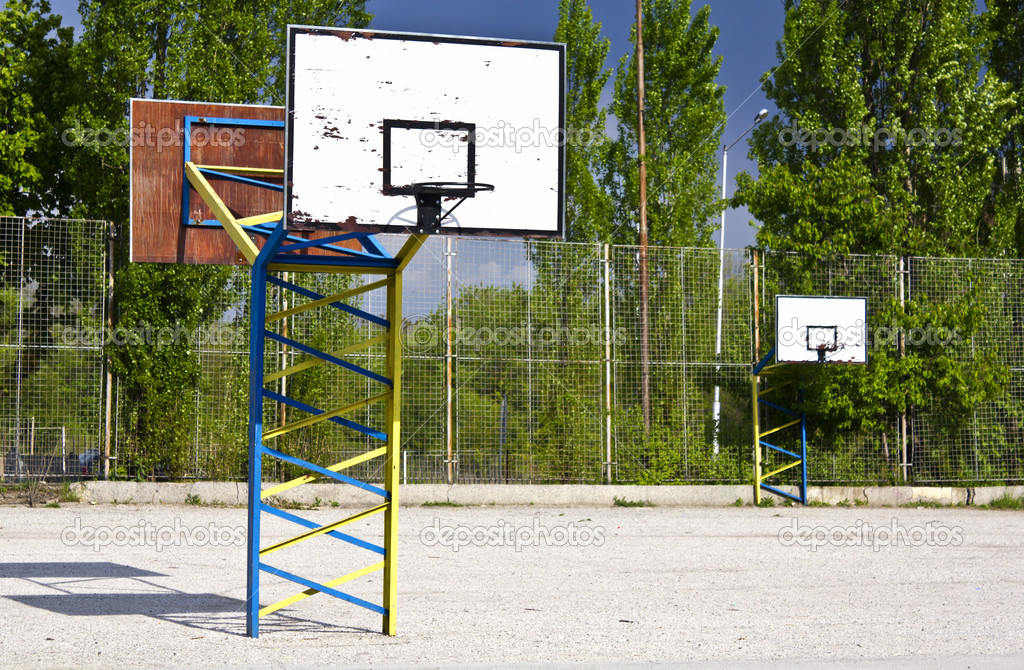 Basketball boards in the school yard  Stock Photo #6428771