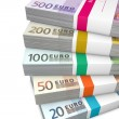 Pile of Euro Cash Packets — Stock Photo