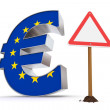 Euro with Triangular Warning Sign - European Union Flag Texture — Stock Photo