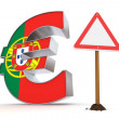 Euro with Triangular Warning Sign - Portuguese Flag Texture — Stock Photo