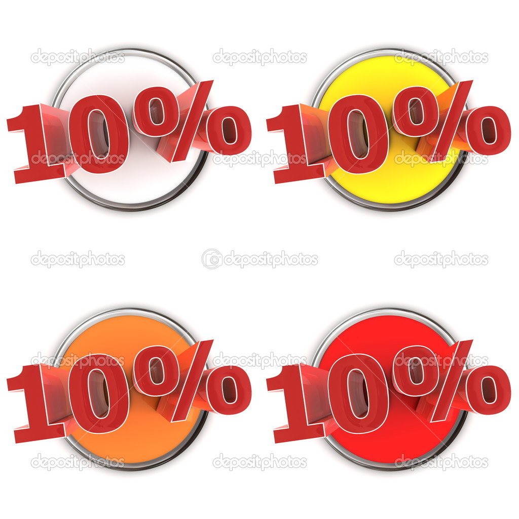 Four round buttons and shiny red 10% - white, yellow, orange, red — Stock Photo #5869267