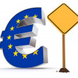 Euro with Triangular Warning Sign - European Union Flag Texture — Stock Photo #6073437