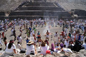 Dance near Sun pyramid — Stock Photo