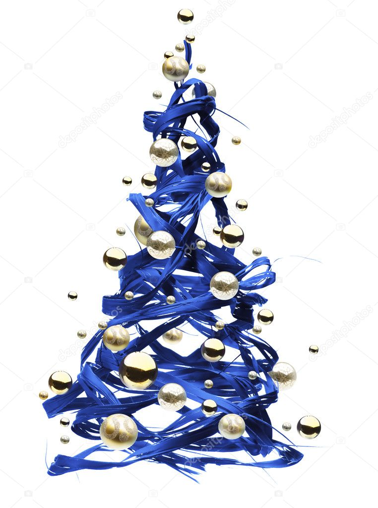 Design a fun Christmas tree out of the blue ribbon — Stock Photo #6690664