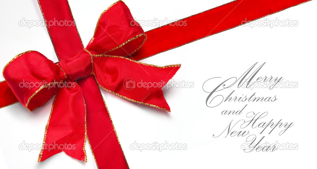 Art Christmas greeting card with a beautiful bow of red ribbon on white background  Stock Photo #6702430