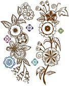 Funky folk art flowers — Stock Vector