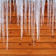 Stock Photo: Icicles on Cabin