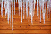 Icicles on a Cabin — Stock Photo