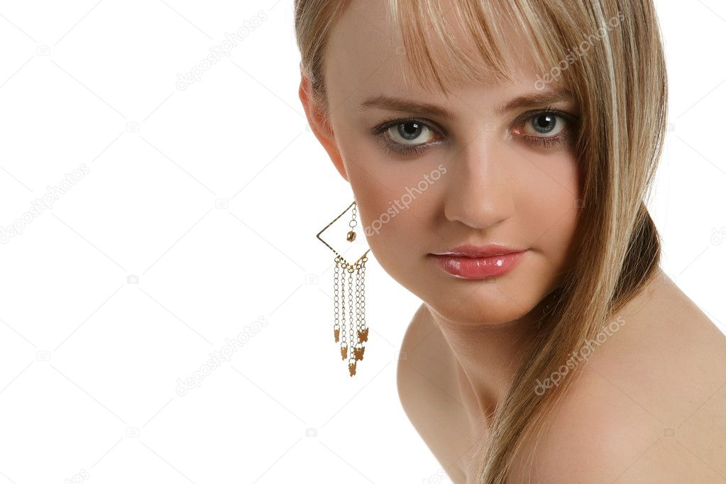 Portrait of blond with a charming view of a white background — Stock Photo #5897940