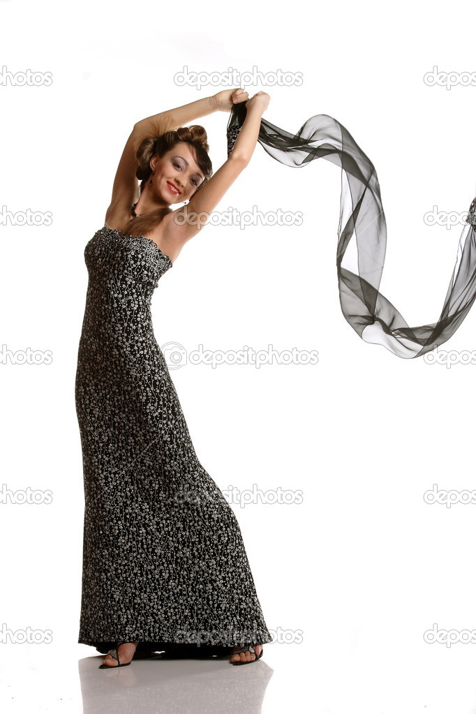 Girl in evening dress with a black shawl — Stock Photo #5898026