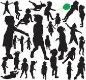 Little girl silhouettes — Stock Vector