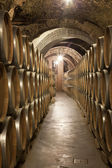 Old cellar with barrel of wine — Stock Photo