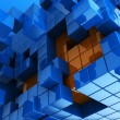 Stock Photo: Blue and orange cubes background
