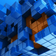 Blue and orange cubes background — Stock Photo