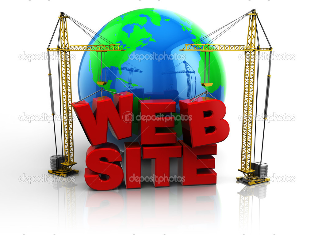3d illustration of two cranes building 'web site' text, web design concept  Stock Photo #5600809